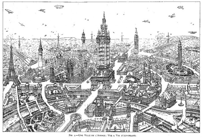 Future Street, 1911. A town of the future. View from an aeroplane. Eugène Hénard