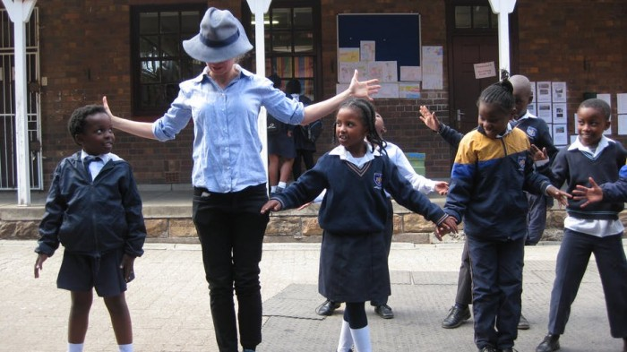 The author running a theatre workshop with pupils from Bertrams Junior School. Author supplied