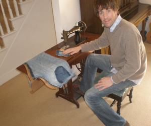 John-Paul Flintoff at his sewing machine.