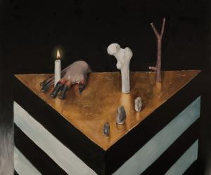 A prayer, 47 x 39 inches. Oil on fibreglass, timber and polystyrene panel.