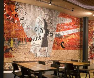 """Coming to the City"" (2011), a site-specific mosaic artwork by Clive van den Berg in Nando's Kings Cross London restaurant."