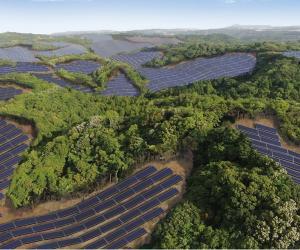 Rendering of th Kanoya Osaki Solar Hills solar power plant in Japan, developed by Kyocera