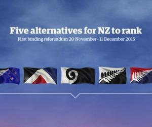 Five New Zealand flag redesign finalists. Image: govt.nz