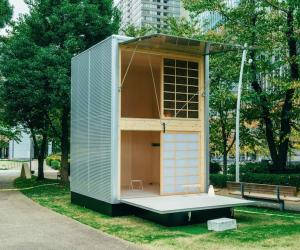 Muji launches three little prefab-houses: Konstantin Grcic's is a two storey house made of aluminium. Image: MUJI Huts