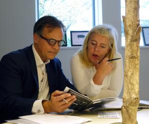 Partner from Dansk OTC, Martin Rasmussen and Kigge Hvid, CEO of INDEX: Design to Improve Life are in charge of Danish Ventures - Investing in Design to Improve Life. They meet to discuss the fund under the birch trees at the INDEX: Design to Improve Life office