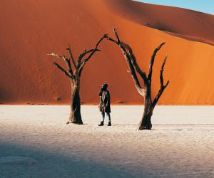 Mutua Matheka in Sossusvlei in the Namib desert
