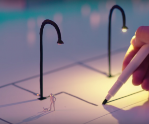 This pen allows you to draw circuits onto paper that conduct electricity immediately. Watch as it lights up this paper town