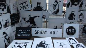 Banksy originals on sale recently in NYC's Central Park