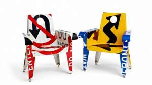 Boris Bally uses discarded street signs as the material for his furniture.