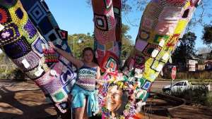 Woza Moya yarn-bombed a huge Jacaranda Tree outside the premises of the Hillcrest AIDS Centre Trust to raise awareness and funds for their Respite Unit on Mandela Day