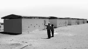 60 sandbag classrooms built in Mbera refugee camp, Mauritania. Image: FAREstudio