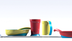 Every product in the Eatwell set has anti-slippage material on the bottom to prevent slipping or sliding.