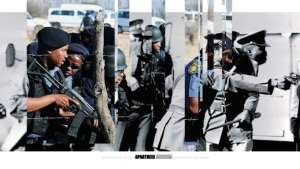 Police during the Soweto Riots, 1976 juxtaposed with police during the Marikana strike, 2012.