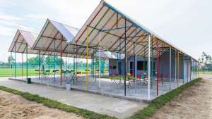 colour and recycled goods came together to form this storm proof structure.
