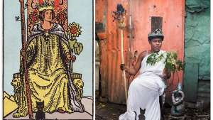 """""""Ghetto Tarot"""", the classic tarot card reinvented, is a collection of striking portraits by Haitian artists and photographer Alice Smeets."""