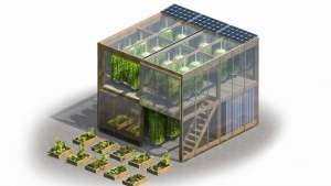With this design, an instructions booklet and a set of flat-pack pieces that can be easily fitted together are all you need to start farming in the city.