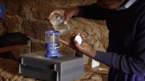 MSR's device makes enough chlorine to treat 200 litres of water.