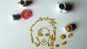 Amongst other things, New York-based artist Sarah Rosado creates celebrity portraits out of crushed cereal flakes