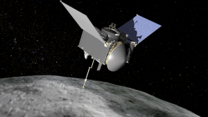 Artist's rendering of the OSIRIS-REx spacecraft at the asteroid Bennu