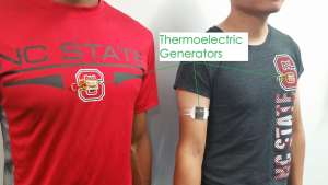 TEG-embedded T-shirt (left) and TEG armband (right).