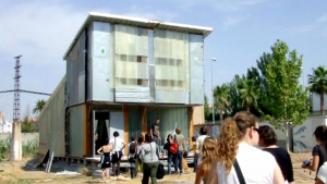 Santiago Cirugeda and his team constructed this building using recycled building materials.