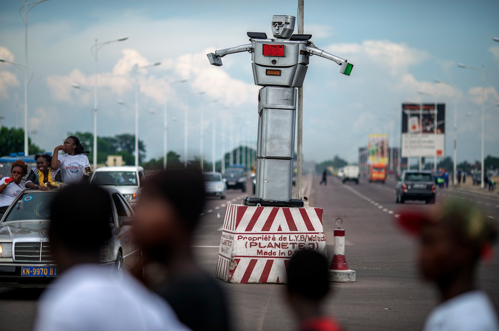 Robotic Traffic Officers Direct Cars On Kinshasa S Roads
