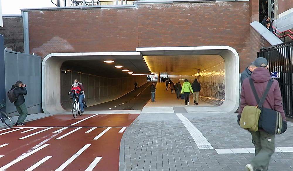 Pedestrian And Bicycle Tunnel Opens Underneath Amsterdam