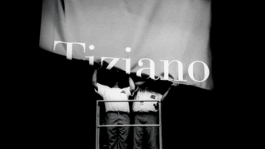Tiziano exhibition banner for Prado Museum in Barcelona, Spain. Courtesy of Fern
