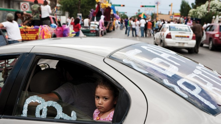 A young girl takes part in her first Gay Pride march in Ciudad Juárez. These eve