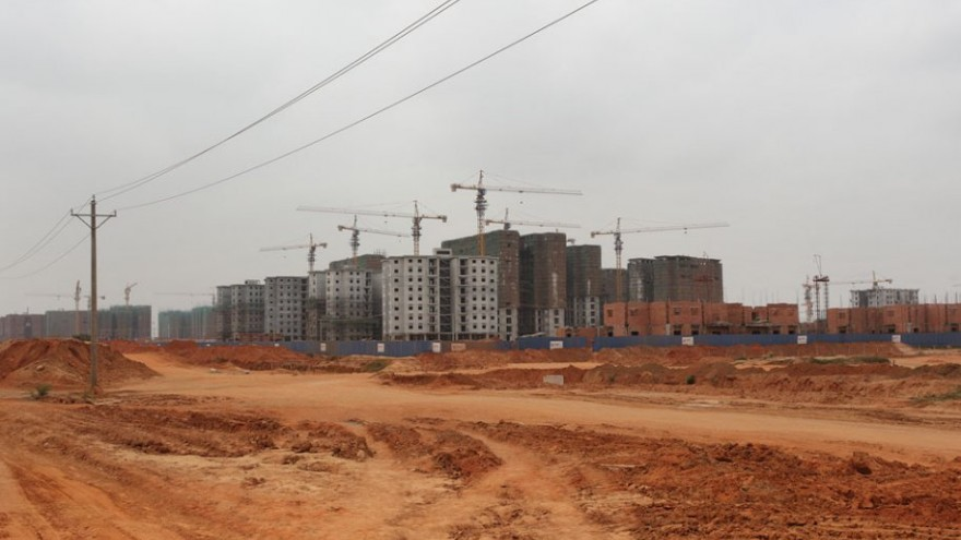 Construction work at Camama by Chinese contractor CICI.