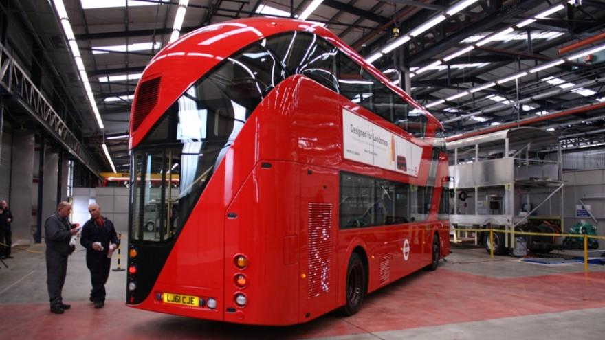 London hybrid double-decker bus.