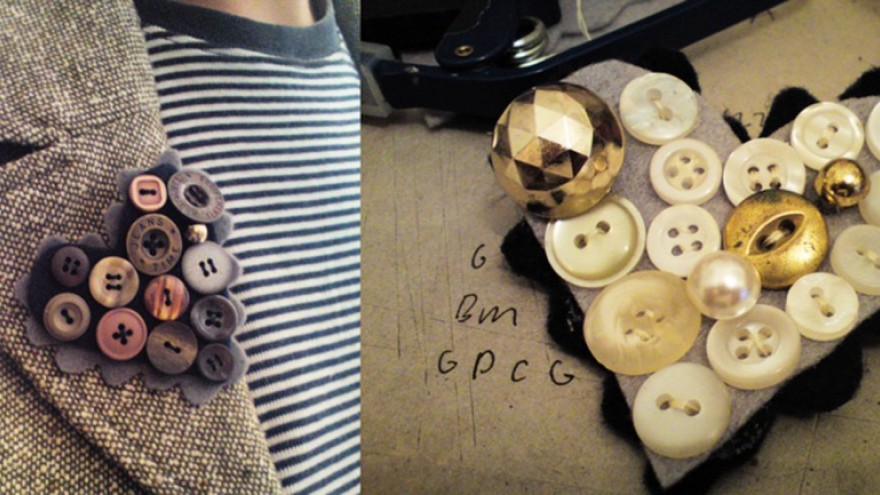 Button brooches.