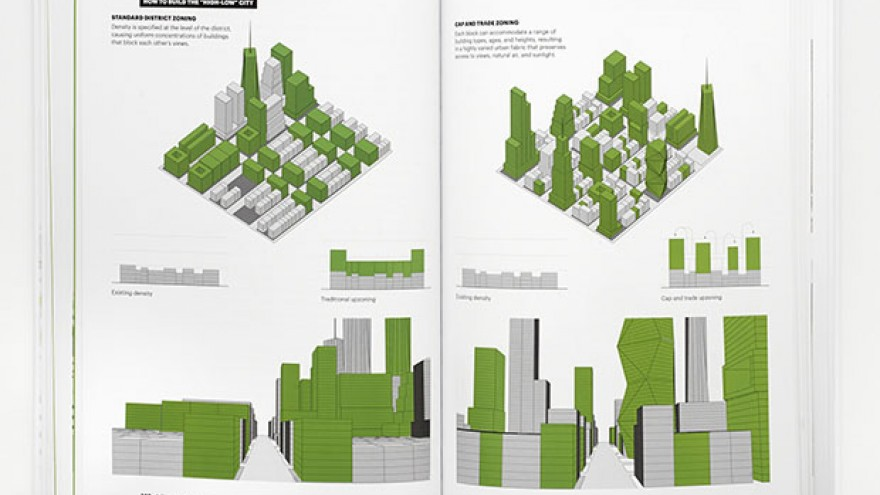 """A Country of Cities"" infographics illustrating zoning for density to build a 'high-low' city by Michael Bierut & Britt Cobb. Images: Pentagram."