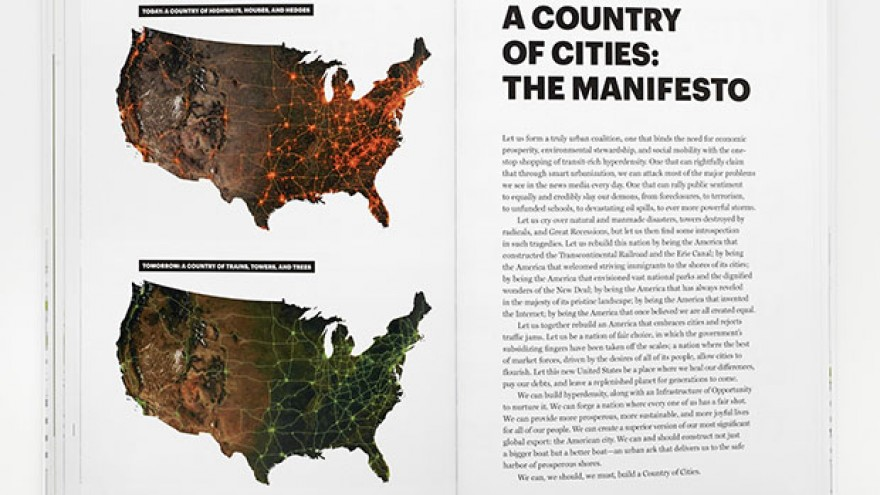 """A Country of Cities"" opening spread of the manifesto by Michael Bierut & Britt Cobb. Images: Pentagram."