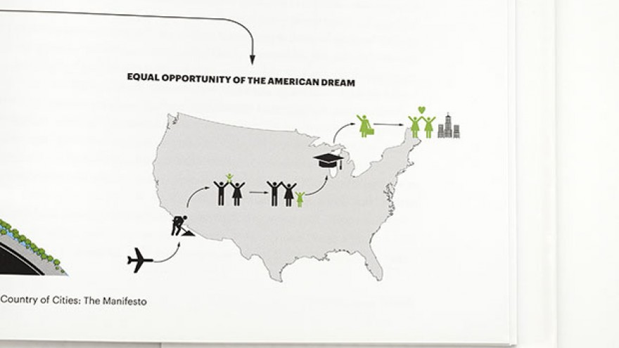 """A Country of Cities"" detail illustrating the 'American Dream' by Michael Bierut & Britt Cobb. Images: Pentagram."