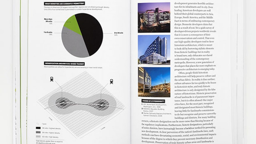 """A Country of Cities"" 'The Whole Enchilada' infographic illustrating the 'infrastructure of opportunity' by Michael Bierut & Britt Cobb. Images: Pentagram."