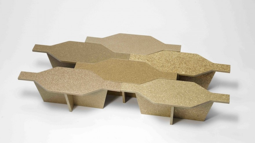 Particle boards from agricultural waste by Charles Job (designer); Bern University of Applied Arts, Ahmadu Bello University and University of Nigeria (partner universities); Patrick Kaiser (workshop and production), Nigeria/Switzerland.