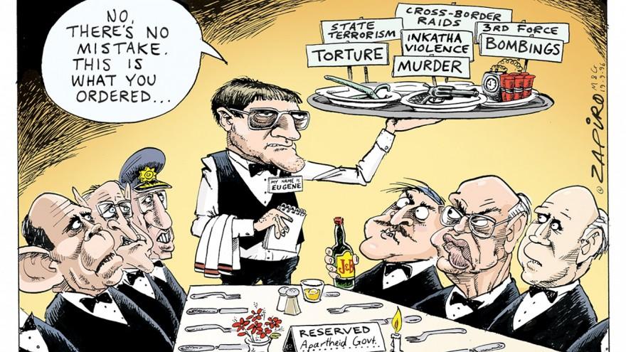 'Apartheid Menu Order' featured in Democrazy: SA's Twenty-Year Trip by Zapiro. Image: Zapiro.