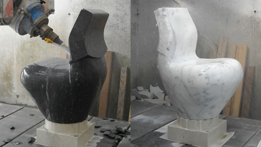 Black and White Swan being machined using CNC on marble. Photo: Satyendra Pakhalé Design Studio.