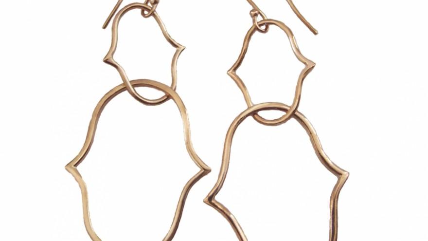 Grace rose gold earrings by Schwarzie.