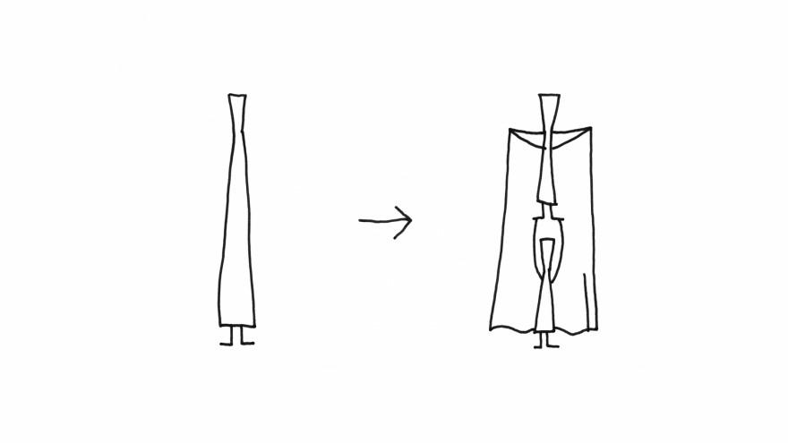 Sketch of the Rassen chopstick design by Nendo.