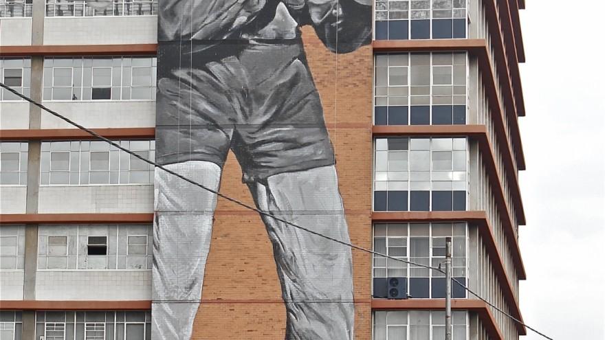 Freddy Sam's Madiba mural from the original photo by Bob Gosani © BAHA foundation.