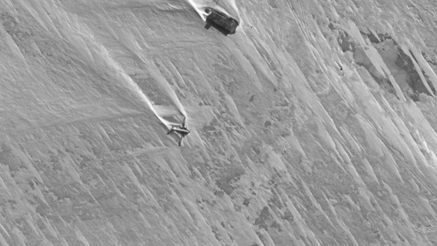 Screenshot, A crash observed from Google Earth, above the ice cap of Antarctica.