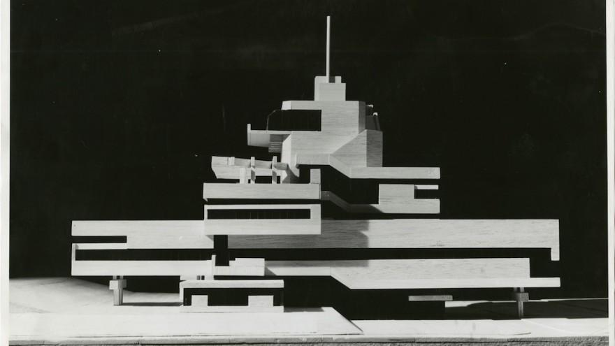 Photo of the model for the Town Hall of Terneuzen, the Netherlands, 1962, collection Het Nieuwe Instituut, BROX f1324, Van den Broek en Bakema Architects
