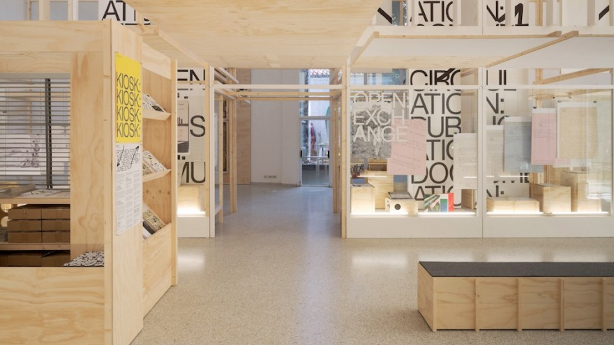 Interior view of the Dutch Pavillion at the 14th Venice Architecture Biennale with graphic and exhibition design by Experimental Jetset. Image: Het Nieuwe Instituut.