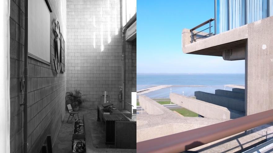 Split screen images of Jaap Bakema's work (Nagele, Terneuzen) by Johannes Schwartz.