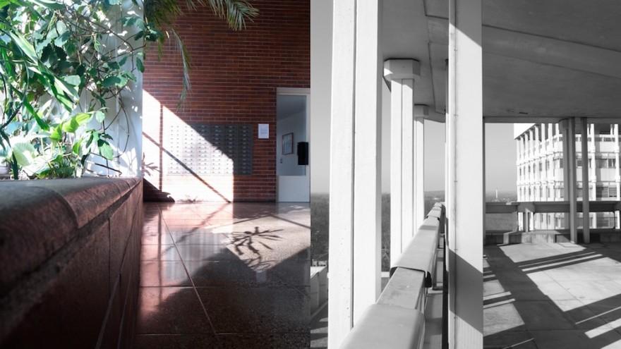 Split screen images of Jaap Bakema's work (Berlin, Marl) by Johannes Schwartz.