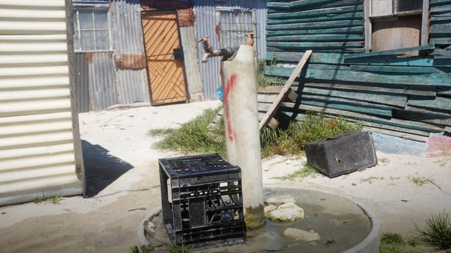 A public water tap (emthonjeni) in Monwabisi Park, Khayelitsha