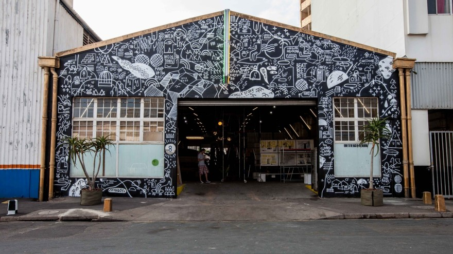8 Morrison Street, a derelict warehouse bought by Johannesburg property developer Jonathan Liebmann, hosted Rivertown's inaugural fresh produce food market. Liebmann, best known for his Maboneng Precinct project on the eastern edge of Johannesburg's CBD, plans to erect an apartment complex on the site. Photo: Luca Barausse.