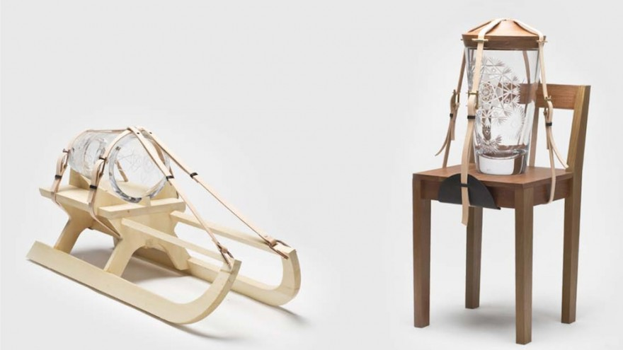 Tadeas Podracky's Jaars juxtaposes the fragility of cut glass with alpine elements such as leather straps and a wooden sled.